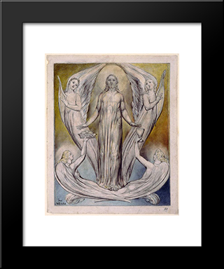 Angels Ministering To Christ: Modern Black Framed Art Print by William Blake