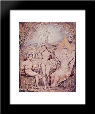 Archangel Raphael With Adam And Eve: Modern Black Framed Art Print by William Blake