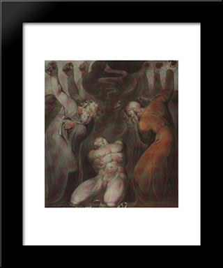 Blasphemer: Modern Black Framed Art Print by William Blake