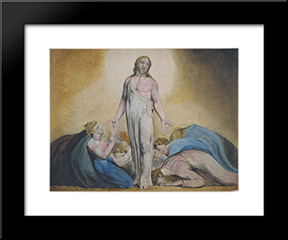 Christ Appearing To His Disciples After The Resurrection: Modern Black Framed Art Print by William Blake