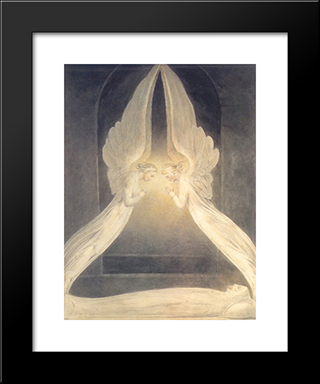 Christ In The Sepulchre: Modern Black Framed Art Print by William Blake