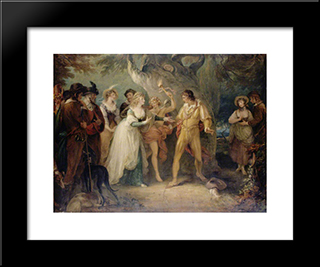 A Scene From 'As You Like It' By William Shakespeare: Modern Black Framed Art Print by William Hamilton