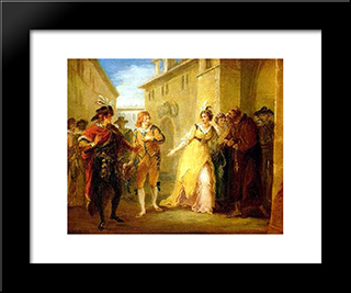 A Scene From Twelfth Night: Modern Black Framed Art Print by William Hamilton