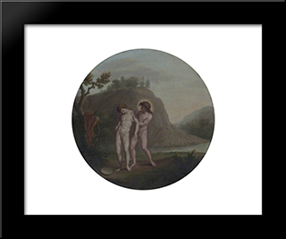 Apollo And Hyacinthus: Modern Black Framed Art Print by William Hamilton