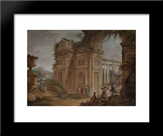 Classical Ruins: Modern Black Framed Art Print by William Hamilton