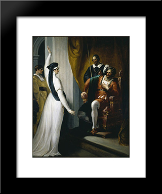 Isabella Appealing To Angelo: Modern Black Framed Art Print by William Hamilton
