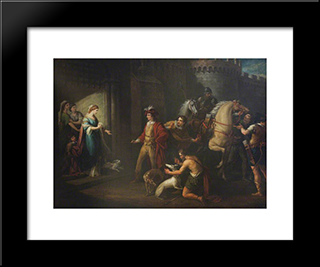 King Edgar'S First Interview With Queen Elfrida (Aelfryth): Modern Black Framed Art Print by William Hamilton