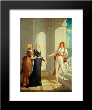 Maria, Olivia And Viola From 'Twelfth Night' By William Shakespeare: Modern Black Framed Art Print by William Hamilton