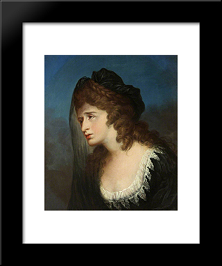 Sarah Siddons As Isabella From 'The Tragedy Of Isabella' Or 'The Fatal Marriage': Modern Black Framed Art Print by William Hamilton