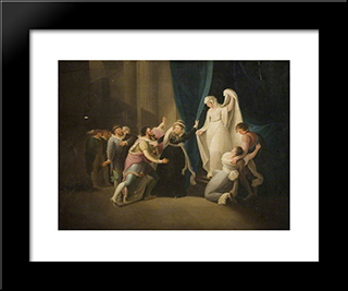 Scene From Shakespeare'S 'A Winter'S Tale: Modern Black Framed Art Print by William Hamilton