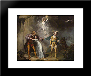 Scene From 'The Tempest' By William Shakespeare: Modern Black Framed Art Print by William Hamilton