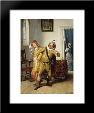 The Carousing Of Sir Toby Belch And Sir Anthony Aguecheek: Modern Black Framed Art Print by William Hamilton