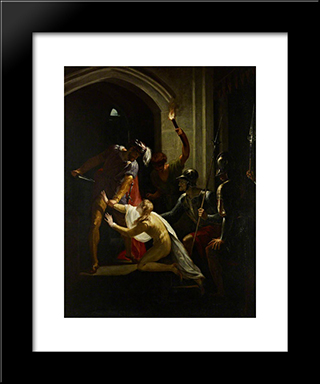 The Death Of Arthur: Modern Black Framed Art Print by William Hamilton