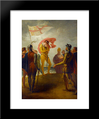 The Landing Of Richard Ii At Milford Haven: Modern Black Framed Art Print by William Hamilton
