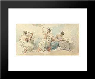 The Nine Muses: Modern Black Framed Art Print by William Hamilton