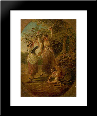 The Nut-Gatherers: Modern Black Framed Art Print by William Hamilton