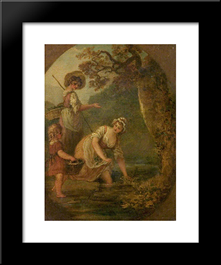 The Watercress-Gatherers: Modern Black Framed Art Print by William Hamilton