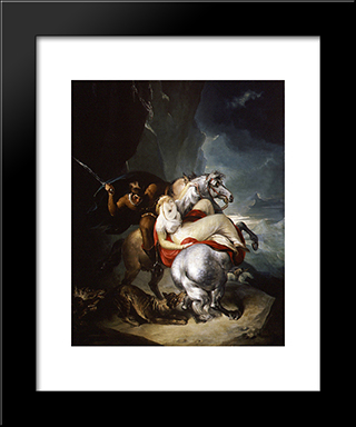 The Wolves Descending From The Alps: Modern Black Framed Art Print by William Hamilton