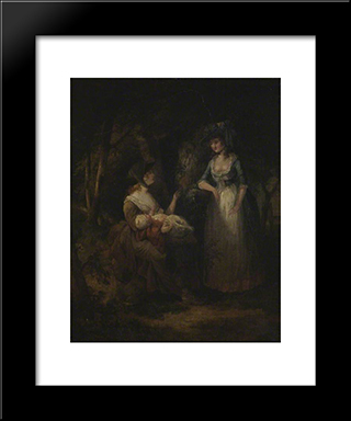Two Women With A Baby Conversing In A Wood: Modern Black Framed Art Print by William Hamilton
