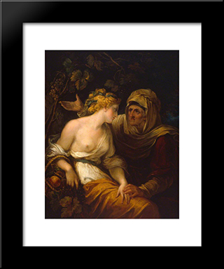 Vertumnus And Pomona: Modern Black Framed Art Print by William Hamilton