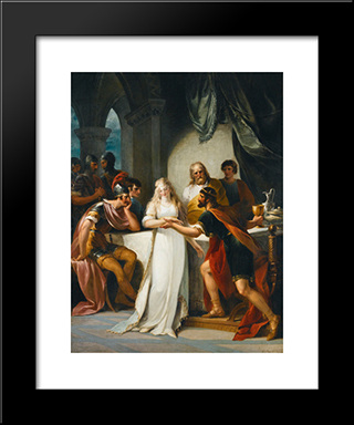 Vortigern And Rowena: Modern Black Framed Art Print by William Hamilton