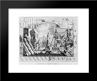 Analisis Of Beauty: Modern Black Framed Art Print by William Hogarth