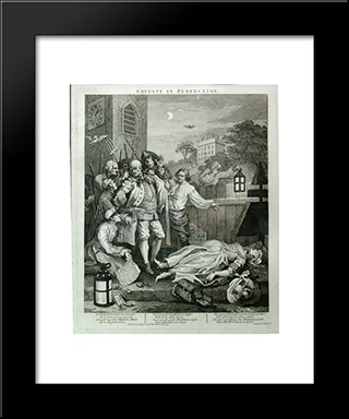 Cruelty In Perfection: Modern Black Framed Art Print by William Hogarth