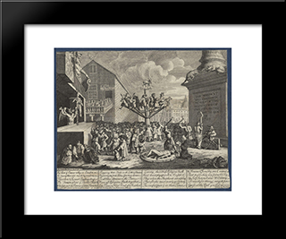 Emblematical Print Of The South Sea Scheme: Modern Black Framed Art Print by William Hogarth