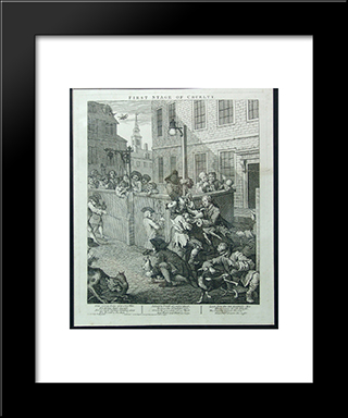 First Stage Of Cruelty: Modern Black Framed Art Print by William Hogarth