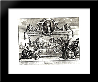Frontispiece And Its Explanation (Hurdibras): Modern Black Framed Art Print by William Hogarth