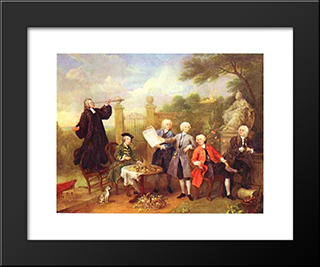 Lord Hervey And His Friends: Modern Black Framed Art Print by William Hogarth