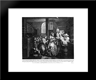 Married To An Old Maid: Modern Black Framed Art Print by William Hogarth
