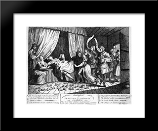 Mary Toft, Apparently Giving Birth To Rabbits: Modern Black Framed Art Print by William Hogarth