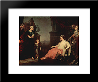 Moses Brought Before Pharaoh'S Daughter: Modern Black Framed Art Print by William Hogarth