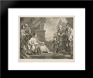 Moses Brought To The Pharaoh'S Daughter: Modern Black Framed Art Print by William Hogarth