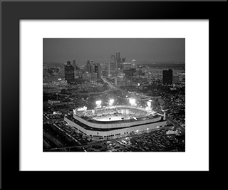 Old Tiger Stadium: Modern Black Framed Art Print by Stadium Series