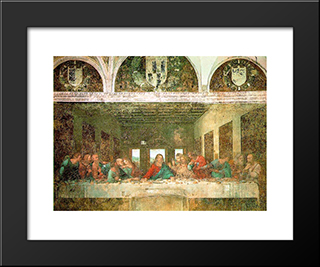 The Last Supper - After Restoration: Modern Custom Black Framed Art Print by Leonardo Da Vinci