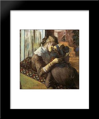 At The Milliner'S: Modern Custom Black Framed Art Print by Edgar Degas