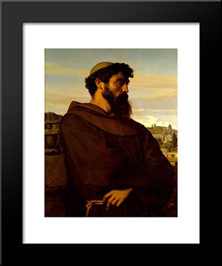 The Roman Monk: Modern Custom Black Framed Art Print by Alexandre Cabanel