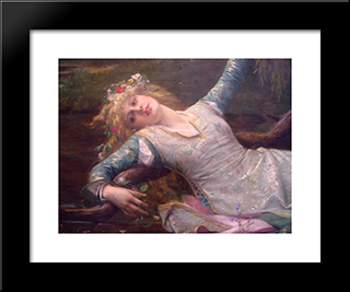 Ophelia [Detail]: Modern Custom Black Framed Art Print by Alexandre Cabanel