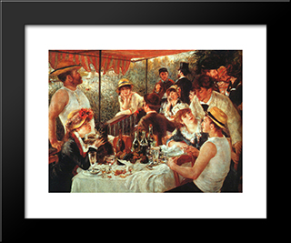 The Boating Party Lunch: Modern Custom Black Framed Art Print by Pierre Auguste Renoir