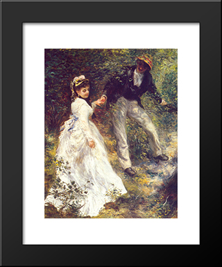 La Promenade: Modern Custom Black Framed Art Print by Pierre Auguste Renoir