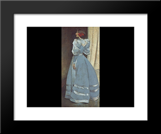 Gray Portrait: Modern Black Framed Art Print by John White Alexander