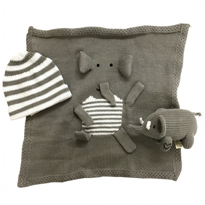 Organic baby gifts hand knit elephant gift set save the elephants view larger photo negle Image collections