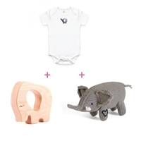 Baby shower gifts organic gift baskets filled with eco friendly elephant themed baby gift basket negle Images