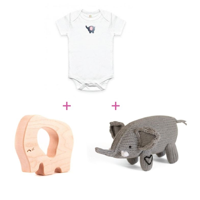 Elephant gift that gives back perfect baby shower present elephant themed baby gift basket view larger photo negle Choice Image