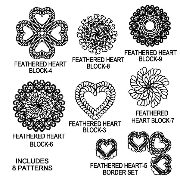 Feathered Heart-5 Block Package