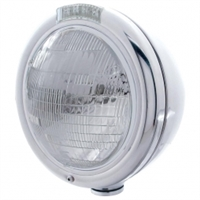 "Stainless ""CLASSIC"" Headlight - 6014 Bulb w/ Amber LED/Clear Lens"
