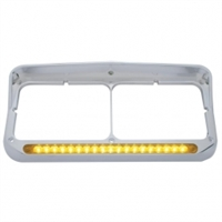 19 LED Dual Headlight Bezel w/ Visor - Amber LED/Amber Lens