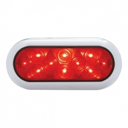 10 LED Oval Stop, Turn & Tail w/ Bezel - Red LED/Red Lens